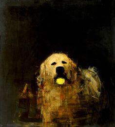Golden Dog with Ball by Rebecca Kinkead