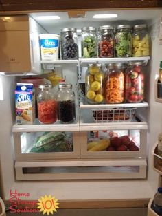Real Life Refrigerator Organization & Storage Ideas - Containerize your refrigerator using glass jars to hold produce {featured on Home Storage Solutions - Refrigerator Organization, Pantry Organization, Organized Fridge, Kitchen Storage, Kitchen Decor, Kitchen Hacks, Kitchen Stuff, Kitchen Ideas, Healthy Fridge