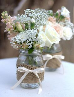 Twine Wrapped Mason Jar Rustic Wedding by detroitpapercompany, $78.00