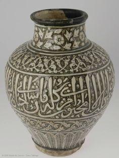 Apothecary vase  14th century  Egypt or Syria, fritware, painted underglaze slip decoration, transparent glaze