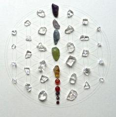 CHAKRA FLOWER OF LIFE    framed sacred crystal grid