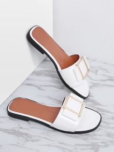Shop White Metal Detail Patent Leather Slider Sandals online. SheIn offers  White Metal Detail Patent · Shoes ... d26e78cf1655