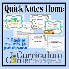 Quick Notes Home from The Curriculum Corner Teacher Organization, Teacher Tools, Teacher Resources, Teacher Stuff, Classroom Resources, Teaching Ideas, Notes To Parents, Letter To Parents, Parent Letters
