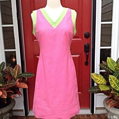 """Lilly Pulitzer Hottie Pink Shift Lilly pink with green trim. Bust is 34"""", waist is 30"""" and the length is 35"""". GUC Lilly Pulitzer Dresses"""