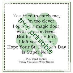 Letter To The Leprechaun Free Printable. Pair with Leprechaun Trap. St. Patrick's Day Activity for Kids.
