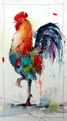 Watercolor - Gerard Hendriks - 6161 le Coq