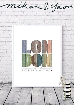 City coordinates New York prints New York coordinates City London Poster, Printable Wall Art, Gifts For Friends, Decorating Your Home, Digital Prints, City, Frame, Handmade Gifts, Artwork
