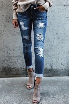 Women's Mid Zipper Fly Skinny Jeans