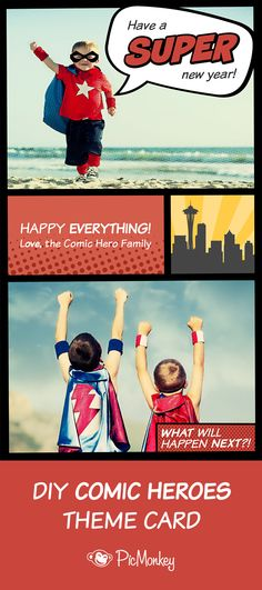 Inspired designs for your New Year's cards with Comic Heroes. POW!