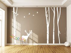 """$30 + $6 Wall Decor Decal Sticker large birch tree trunk forest 4 trees with Deer 96""""H"""