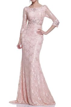 17-20260 PRIMA Blush Lace 3/4 Sleeve Mother of the Bride Dress. Blush colored lace evening gown with 3/4 sleeves and Soutache embroidery at the waist and back. Both the waist line and back of the dres
