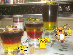 Pichu, Pikachu, Raichu (Pokemon Cocktails) Ingredients: Pichu: ½ oz Creme de Banana ½ oz pomegranate schnapps, ½ oz Jager Pikachu: ½ oz grenadine ½ oz Creme de Banana ½ oz Captain Morgan tattoo Raichu: 1 oz Creme de Banana 1oz Jager 1oz 100 proof...