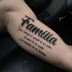 Meaningful Family Quote Bicep Tattoos - Best Inner Bicep Tattoos For Men: Cool Inside Arm Bicep Tattoo Designs and Ideas For Guys Good Family Tattoo, Family Tattoos For Men, Family Tattoo Designs, Tattoos For Guys, Body Art Tattoos, Small Tattoos, Sleeve Tattoos, Cool Tattoos, Tatoos