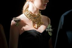 Lanvin 2013..massive bug brooches & tons of gold chains & the word Cool.  Not into the insect jewelry.
