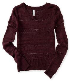 Long Sleeve Open-Knit Sweater - Aeropostale