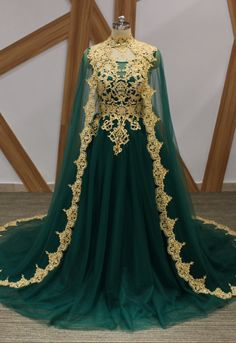 Dark Green Tulle Gold Lace Applique Long Arabic Formal Prom Dress, Evening Dress – Dress Home Prom Dresses 2018, Cheap Prom Dresses, Sexy Dresses, Evening Dresses, Bridesmaid Dresses, Fantasy Gowns, Royal Dresses, Queen Dress, Medieval Dress