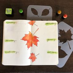 Create this gorgeous fall leaves bullet journal layout. Hop over here to see how. #bulletjournal #moxiedori Bullet Journal Tools, Autumn Bullet Journal, December Bullet Journal, Bullet Journal Stencils, Bullet Journal Spread, Bullet Journal Layout, Bullet Journal Inspiration, Journal Ideas, Coffee Stencils