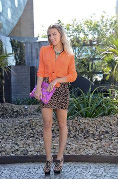 glam4you - nati vozza - look do dia - saia - onça - camisa com nó - look - bcbg - balenciaga - revista glamour - spfw - bloggers -