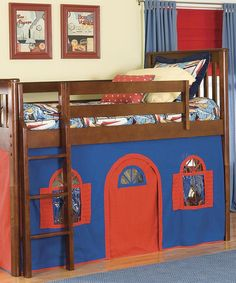 This Cherry, Blue & Red Three-Piece Low-Loft Tent Bed Set by Bolton Furniture is perfect! #zulilyfinds