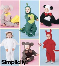 HALLOWEEN Costume Sewing Pattern - Child Dragon Angel Devil Mouse Panda Costumes - 5 Sizes