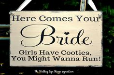 Funny Wedding Decor Wedding Signs Rustic Here Comes Your Bride Run Cooties Sign Humorous Ring Bearer Boys Sign Rustic Ceremony Wooden Signs