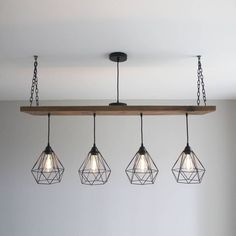 Are you interested in our Wooden Beam multi pendant? With our Oak style plank industrial light you need look no further. - Industrial Pendant Lighting - Ideas of Industrial Pendant Lighting Outdoor Pendant Lighting, Vintage Industrial Lighting, Industrial Light Fixtures, Industrial Pendant Lights, Industrial Table, Industrial Design, Industrial Machine, Industrial Interiors, Modern Industrial