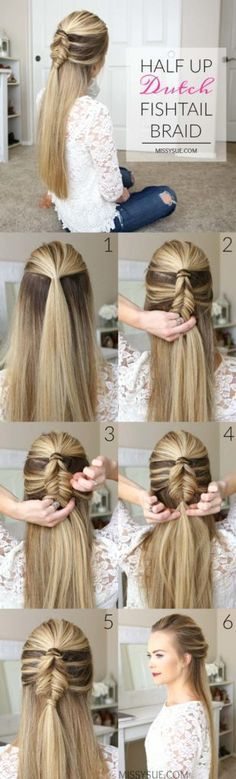 Best Hair Braiding Tutorials - Half Up Dutch Fishtail Braid - Easy Step by Step Tutorials for Braids - How To Braid Fishtail, French Braids, Flower Crown, Side Braids, Cornrows, Updos - Cool Braided Hairstyles for Girls, Teens and Women - School, Day and Evening, Boho, Casual and Formal Looks http://diyprojectsforteens.stfi.re/hair-braiding-tutorials