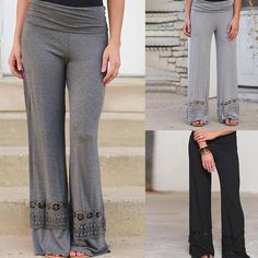 f3d3f7829308a Plus Size Loose Women Wide Leg Pants Elastic Waist Yoga Trousers