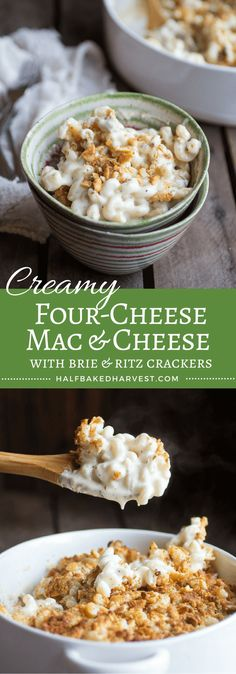 Creamy Four-Cheese Mac & Cheese with Brie and Buttery Ritz Crackers   halfbakedharvest.com @hbharvest