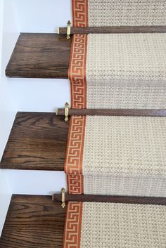 Hampton Designer Show House - Greek Key trimmed sisal stair runner with decorative stair rods. House, Home, Remodel, Show Home, House Interior, Wooden Stairs, Sisal Stair Runner, Stairs, Stairways