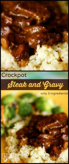 The steak in this Crockpot Steak and Gravy always comes out tender and flavorful.  It is so easy to make with only 3 ingredients! via @favfamilyrecipz
