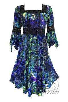 5e57e31d498 Dare To Wear Victorian Gothic Boho Women s Plus Size Renaissance Corset  Dress Peacock Victorian Gothic
