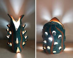 Lamp shade. Jack's magical pea pod. Ceramic hand made statue with hidden light fixture. sculpture