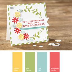 Daffodil Delight, Pear Pizzazz, Soft Sky & Watermelon Wonder #StampinUpColorCombos
