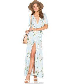 Floral Print Split Front Beach Boho Maxi Dress