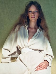 #editorial from ELLE Sweden May 2015 #white #blouse #khaki