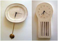 Ceramic clocks by Maria Kristofersson.