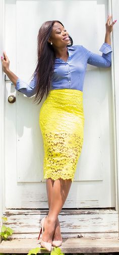 Yellow Lace Pencil Skirt