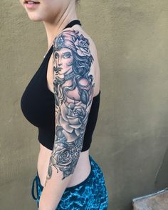 Half sleeve gypsy tattoo with roses and mandala done by Craig Toth at Holdfast Studio in Redwood City, Ca