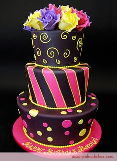 This is an amazing birthday cake, such great colours!