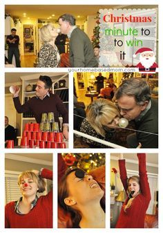 Minute to Win It Games - perfect for your Christmas party or Christmas Eve fun.