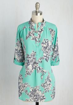 Cook Lively! Top in Turquoise. Prepping your dinner party eats in this aqua blouse will energize your culinary creativity! #mint #modcloth