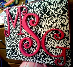 Monogram canvas for a baby shower gift.