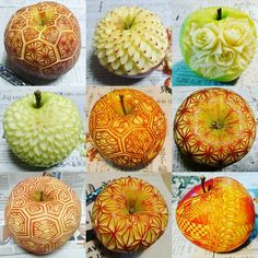 APPLE Fruit and Vegetable Carving Processing Art – Delicious Food L'art Du Fruit, Fruit Art, Fruit Cakes, Zumbo Desserts, Ladybug Cakes, Fruit And Vegetable Carving, Food Artists, Food Carving, Watermelon Carving