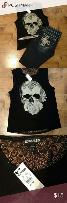 final reduction Skull & Roses Top Lightweight, great for summertime. Pretty all lace back. Probably want to layer unless you don't mind (see last pic). New with tags, never worn. Thanks for looking!! Express Tops