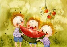 three for one - ViKtoria Kirdiy Art And Illustration, Watercolor Illustration, Watercolour, Painting For Kids, Painting & Drawing, Art For Kids, Watermelon Cartoon, Eating Watermelon, Branches Of Art