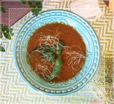 Creamy Watercress & Tomato Soup w Kaffir Lime Leaf - a no oil but still creamy soup bursting with nature's vegan goodness :-)