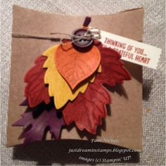 Just Dreamin' Stamps: Thanksgiving Pillow Box by PamNichols. Stampin Up Pillow Box die and Leaflets Framelits