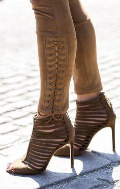 Caroline Berg Eriksen Camel Suede Pants And Sandals