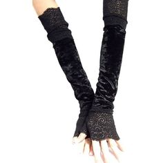 Madame Fantasy XX Long Black Crushed Velour Fingerless Gloves With... ($23) ❤ liked on Polyvore
